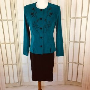 2 PC Faux Suede Blazer Top Skirt Career Suit